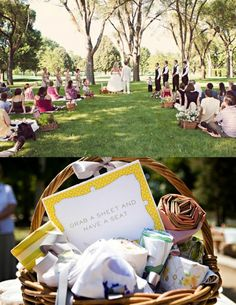 Ceremony Seating Alternatives: I am hooked to the blanket seating idea. Wedding Ceremony Ideas, Diy Wedding, Rustic Wedding, Dream Wedding, Wedding Picnic, Wedding Stuff, Picnic Weddings, Casual Wedding, Outdoor Ceremony