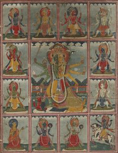 A Hindu devotional image depicting Lakshmi Narayana surrounded by 12 other deities. Pichwai Paintings, Indian Paintings, Mysore Painting, Indian Illustration, Southeast Asian Arts, Indian Folk Art, India Art, Art And Architecture, Architecture Courtyard