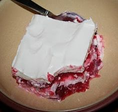 Strawberry Sour-Cream Jello Salad - My mother used to make this every summer when strawberries were available. Family loved it and never lasted very long! Pinned over 10K (click image for recipe)