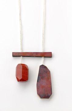 Isabel Dammermann. Perpetua-Series. Necklace; 8,5 x 39 x 0,8; Shibuishi, Pink Ivory, Cotton