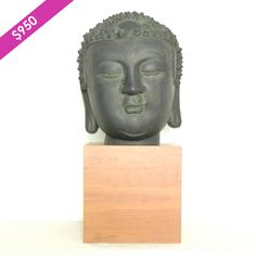 """Large scale Buddha head on base. 30""""tall x 12""""wide.....We offer a wide variety of furniture and accessories. We are located in the Dallas Design District. We can ship to any location in the US. visit us at www.againandagain.com  www.facebook.com/againdesign"""