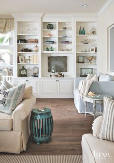 built-in shelves with coastal accessories