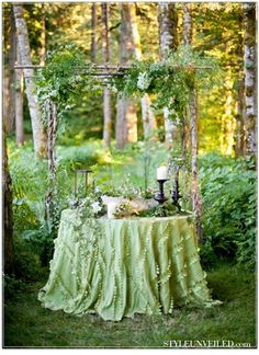 2014 Wedding Trends Predicted by The Knot Arbor with table for outdoor wedding reception. Toned down with native flowers.Arbor with table for outdoor wedding reception. Toned down with native flowers. Forest Wedding, Woodland Wedding, Woodland Fairy, Woodland Theme, Forest Party, Deco Champetre, The Secret Garden, Secret Garden Parties, Secret Gardens