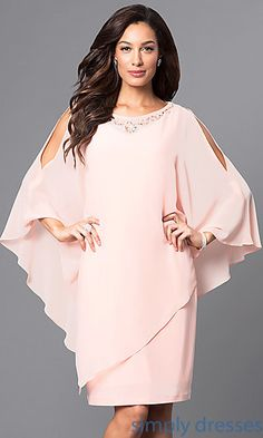 Mother-of-the-Bride Short Sheath with Cape