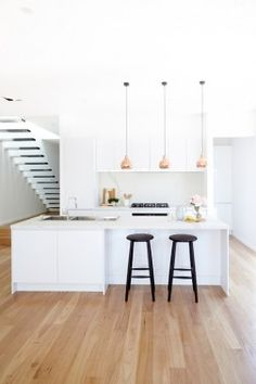 As they prepare to go back on The Block, Bec & George show us their new kitchen - The Interiors Addict Kitchen Interior, New Kitchen, Kitchen Decor, The Block Kitchen, Copper Kitchen, Kitchen Living, Living Room, Kitchen Pendant Lighting, Pendant Lights