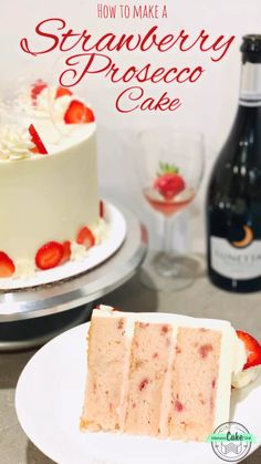 Delicious blend of summery flavors in this Strawberry Prosecco Cake! Prosecco-infused strawberry cake layers, strawberry filling, and a hint of Prosecco in the frosting! Perfect for spring or summer parties, or for any white wine lover's birthday! Cake Recipes With Fruit Filling, Strawberry Cake Recipes, Strawberry Filling For Cake, Strawberry Cheesecake, Cheesecake Recipes, Prosecco Cake, Just Desserts, Delicious Desserts, Deco Buffet