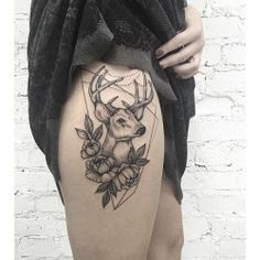 thigh tattoos deer - Google Search