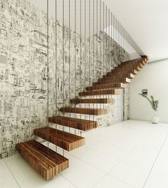 Modern Staircase Design Ideas - Stairs are so typical that you do not give them a reservation. Take a look at best 10 examples of modern staircase that are as sensational as they are . Small Staircase, Floating Staircase, Staircase Ideas, Staircase Remodel, Spiral Staircase, Banisters, Stair Railing, Iron Railings, Wood Railing