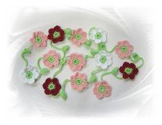 Girlanden & Wimpelketten - Blumen-Girlande 160 cm - gehäkelte BLumenkette, Bluemgirlande, Häkelblumen, Blütenkette, Wimpelkette