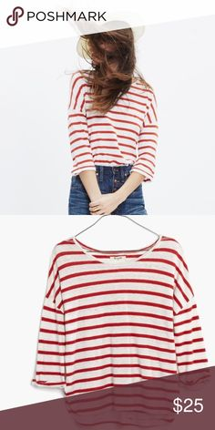 Madewell Audio Tee Hemp and Cotton blend audio tee in Calabasas Stripe from Madewell.  Size Large.  Minimal wash wear.  Slightly oversized fit with rolled 3/4 length sleeves. Madewell Tops Tees - Long Sleeve