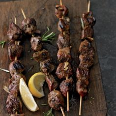 Arrosticini, a dish of skewered lamb that is popular in the Abruzzo region of Italy, is traditionally prepared seasoned with nothing but olive oil, salt and lemon, but here we add aromatic garlic a...