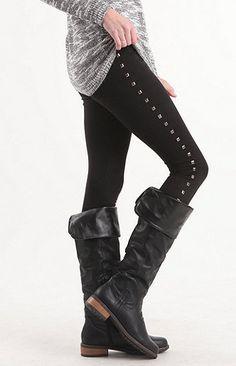 Nollie Black Ponte Stud Leggings at PacSun.com