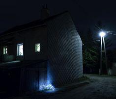 After Christmas by Gergo Gosztom, abandoned and illuminated Xmas trees.