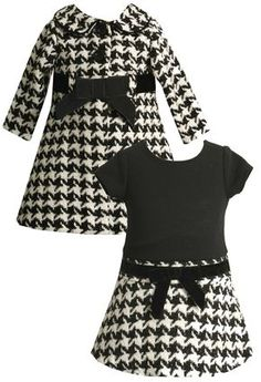 Bonnie Baby Lurex Houndstooth Coat Set, Black/White B/W) Little Girl Outfits, Little Girl Fashion, Little Girl Dresses, Kids Outfits, Kids Fashion, Baby Girl Dresses, Baby Dress, Dress Set, Moda Kids