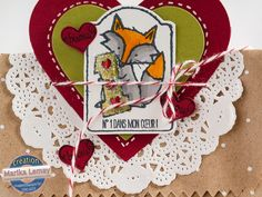 Petits_valentins_la_magie_des_etampes_4 Valentine Cards, Valentines Day, Etampes, Stampin Up, Christmas Ornaments, Holiday Decor, Cards, Valentine's Day Diy, Christmas Jewelry