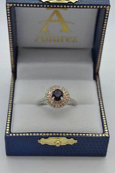 Double Halo Blue Sapphire Ring & Band Bridal Set 14k Two-Tone Gold 1.59ct - Allurez.com