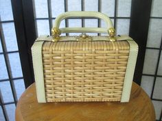 Vintage 1950s 1960s Handbag Straw Wicker Purse Leather from Peck and Peck Beige Box Square Shape