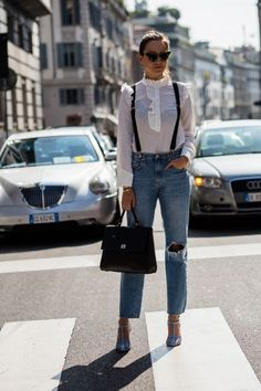 Victorian blouse with denim -Eight tricky trends to try out now (never say never!) - Vogue Australia