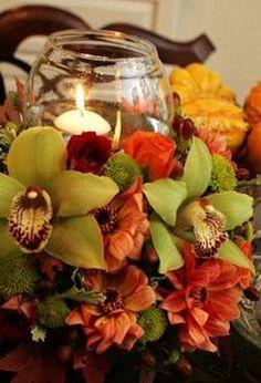 A vibrant fall design showing a unique integration of a candle element