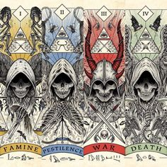 The 4 horsemen of the apocalypse. Fantasy Kunst, Dark Fantasy Art, Arte Horror, Horror Art, Apocalypse Art, Theme Tattoo, Satanic Art, Arte Obscura, Demon Art