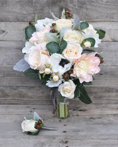 Winter Wedding bouquet and boutonniere set Flowers Wedding