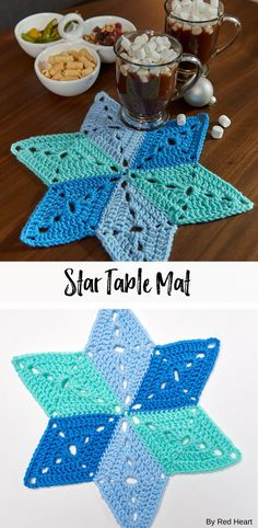 Star Table Mat free crochet pattern in Super Saver. Double up for a trivet. Crochet Placemats, Crochet Mat, Crochet Table Runner, Crochet Stars, Crochet Blocks, Crochet Home, Crochet Crafts, Crochet Doilies, Crochet Projects