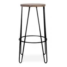 Cult Design Black Hairpin Stool With Elm Wood Seat - Cult Design from Cult Furniture UK