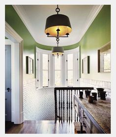 Love that shade of green with that light fitting
