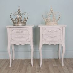 Pair of Distressed Shabby Chic White Bedside Tables | eBay