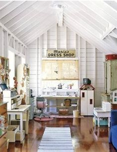 whitewashed attic Mom-closet craft room and child's play room ♥♥♥@thedailybasics