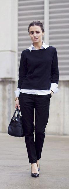 Weiße Bluse kombinieren: Diese Styling-Regeln musst du kennen! Classy Business Look Simple Black and White