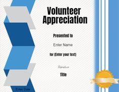 free printable volunteer certificates