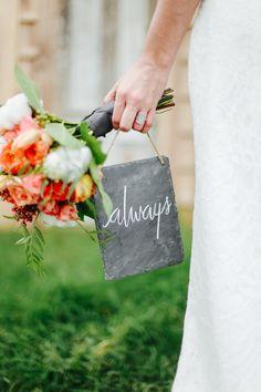 Gorgeous slate signage. Styled Shoot by Cedarwood Weddings - www.theperfectpalette.com - Jenna Henderson Photography