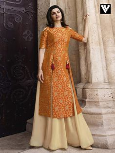 This Banarasi Jacquard And Satin Orange And Cream Colour Kurti Is The Fun Attire Of The Moment. Get It and Style It With Handbag and Earrings For The Perfect Day Look. Its Party Wear and Cute - The. Kurta Designs Women, Kurti Neck Designs, Salwar Designs, Kurti Designs Party Wear, Latest Kurti Designs, Indian Designer Outfits, Indian Outfits, Designer Dresses, Designer Kurtis