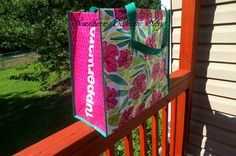 Tupperware Tropical Glamour Tote Hibiscus Reusable Shopping Bag 18 x 16 x 8.5