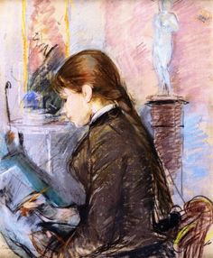 Paule Gobillard Drawing (1886).Berthe Morisot (French, 1841-1895).Drawing - pastel. Morisot's oldest sister Yves' daughter Paule Gobillard (1867-1946) inherited both talent and ambition. She was often to be found working with Morisot in her home and studio. Indeed, when Yves Gobillard died in 1893 Paule and her younger sister Jeanne moved in for a time with their aunt Berthe and their cousin Julie Manet.