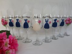 Hand Painted Personalized Bridal Party Dress Wine by SAM Designs at www.samdesigns.net,  $24.00