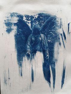 Cyanotype 24x32 Canson Montval 200g Büttenpaper #cyano #cyanotypie #cyanotype #print #Magdeburg #fineart #angel #engel #church