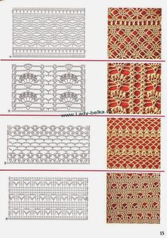 Crochet lace edgings with diagram Crochet Stitches Chart, Crochet Motifs, Crochet Diagram, Tunisian Crochet, Filet Crochet, Irish Crochet, Knitting Stitches, Crochet Lace, Lace Patterns