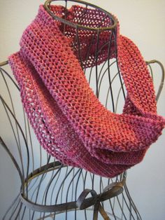 Sweet Strawberry Cowl - knit with ~200 yarns of dk-weight yarn and size 6 needles.