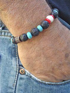 Men's Bracelet with Black Lava Carved Bone by tocijewelry on Etsy, $38.00