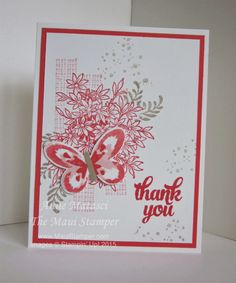 Stamps:  Awesomely Artistic, Watercolor Wings, Tin of Cards Color Palette:  Whisper White, Crumb Cake, Watermelon Wonder, Blushing Bride Accessories:  Word Window Punch, Bold Butterfly Framelits,