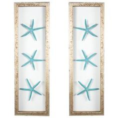 Bring a touch of the seaside to your d�cor with this imaginative coastal print.   Product: 3 Piece framed wall artConstruction Material: Wood, glass and starfishColor: Teal and distressed silver frameFeatures: Floating starfishDimensions: 23.25 H x 7 W eachNote: Hanging hardware includedCleaning and Care: Wipe with cloth