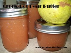 A simple and delicious recipe made in the crock-pot.   Pear butter comes out tasting like pears.  A great treat for toast or in a sandwich.