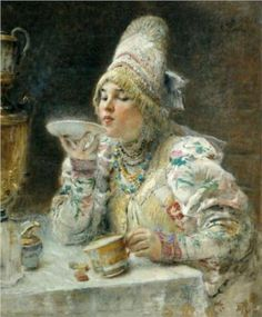By Konstantin Makovsky. Found here.  From Ingalls-Wilder's Farmer Boy we know tea was poured from the cup in the saucer, and then drank from the saucer. This was generally done by older people, while younger people thought it was bad form or old-fashioned to drink from the saucer. Research online seems to show most drinking-from-saucers took place in Scandinavia en Russia, and that the habit was probably taken to America by European immigrants.