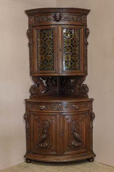 Antique French Hunt Corner Cabinet 19th Century by Thegatz on Etsy