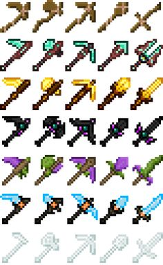 Custom Minecraft Tool Sets by TheMFreak on DeviantArt Espada Minecraft, Minecraft Sword, Minecraft Toys, Minecraft Designs, Minecraft Creations, Minecraft Pixel Art, Pack Texture, Capas Minecraft, Minecraft Pictures
