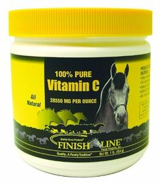 Finish Line Horse Products Vitamin C Pure by Finish Line. $22.55. 1-Pounds Vitamin C Powder is pure, Vitamin C is pure ascorbic acid. No fillers, no artificial colors or flavors. Just pure Vitamin C For horses that need additional dietary Vitamin C. Contains 28,375 milligrams Vitamin C per scoop.