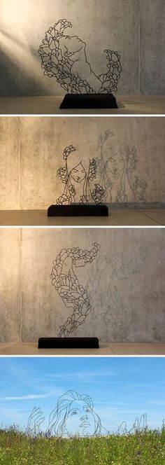Sketches in the Air: Delicate Figures Drawn in the Air with Welded Steel Rods by Gavin Worth