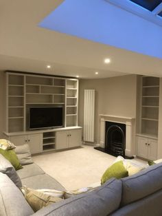 Bespoke media furniture custom made to house all types of audio visual equipment. Built In Shelves Living Room, Living Room Wall Units, Living Room Cabinets, Living Room Update, Living Room Storage, Living Room Designs, Tv In Kitchen, Media Furniture, Tv Unit Design